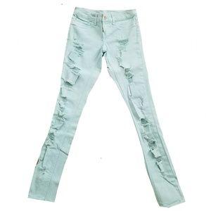 Mint Green Distressed Skinny Jeans